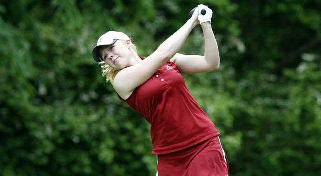 Stephanie Meadow tees off on No. 18 at the East Regional. Meadow won the individual title by six shots.
