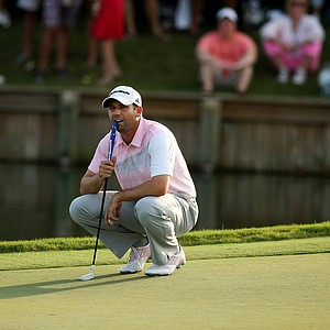 Sergio Garcia waits to putt at No. 18 in the final round of the 2013 Players Championship at TPC Sawgrass.