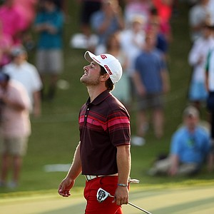 David Lingmerth reacts to missing his long birdie attempt at No. 18 in the final round of the 2013 Players Championship at TPC Sawgrass.