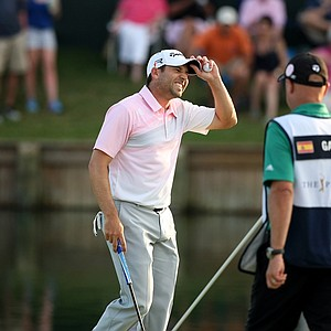 Sergio Garcia reacts after finishing his round Sunday at the 2013 Players Championship at TPC Sawgrass.