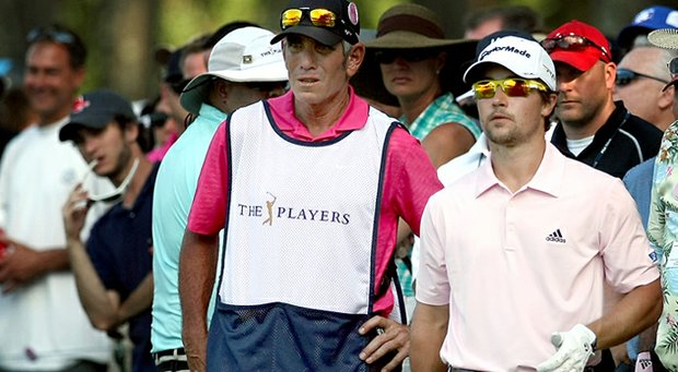 Casey Wittenberg with his caddie/coach a Adam Schriber in the final round of the 2013 Players Championship at TPC Sawgrass.