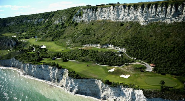 Aerial view of Thracian Cliffs, site of the Volvo World Match Play Championship in Bulgaria.