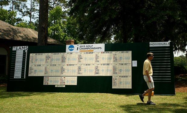 The leaderboard at the Division 1 Men's Regional at Golden Eagle Country Club in Tallahassee. After Round 1, North Florida had a four shot lead.