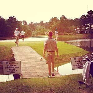No. 18 tee at the Division 1 Men's Regional at Golden Eagle Country Club in Tallahassee.