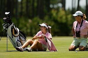 Annie Dulman of Rollins with her coach, Julie Garner at No. 17 at the Division 2 Women's Final in Daytona Beach.