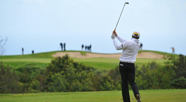 Peter Uihlein plays his approach shot to the third hole during the final round of the Madeira Islands Open in Portugal.