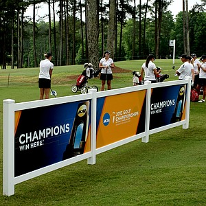 Defending national champions Alabama wait to tee off during Monday's practice round at the Women's 2013 NCAA Championship.