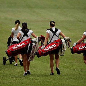 Defending national champions, Alabama, head out during Monday's practice round at the Women's 2013 NCAA Championship.