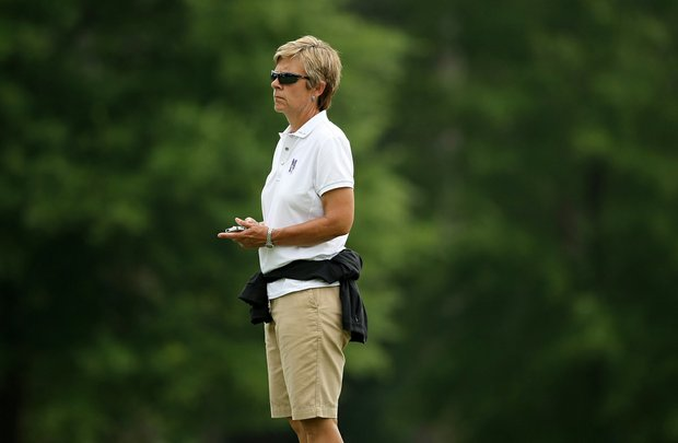 Northwestern head coach Emily Fletcher during Monday's practice round at the Women's NCAA Championship.