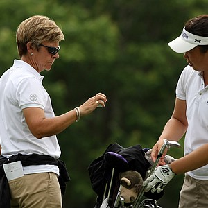 Northwestern head coach Emily Fletcher with Hana Lee during Monday's practice round at the Women's 2013 NCAA Championship.