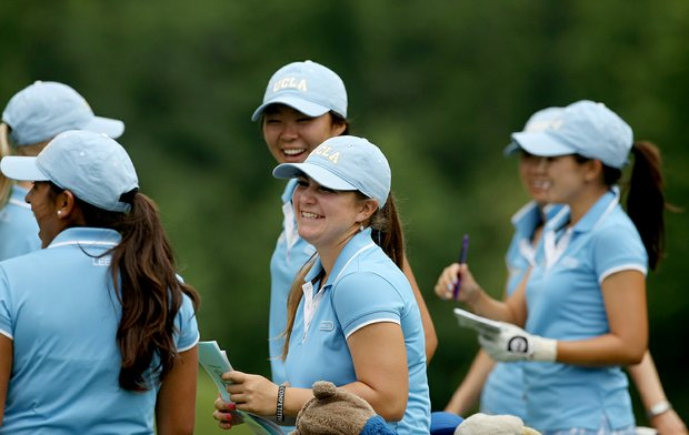 UCLA's Ani Gulugian shares a laugh with her teammates during Monday's practice round at the Women's NCAA Championship. Gulugian made a hole-in-one during Sunday's practice.