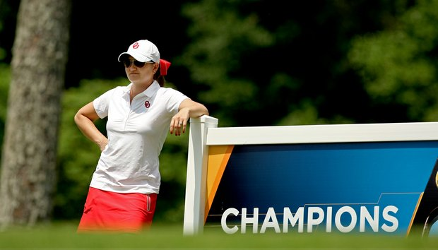 Oklahoma head coach Veronique Drouin-Luttrell during Monday's practice round at the Women's NCAA Championship.
