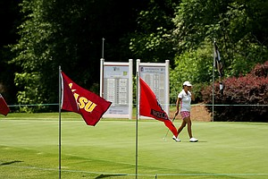 The practice green during Monday's practice round at the Women's NCAA Championship.