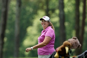 Mississippi State head coach Ginger Brown-Lemm during Monday's practice round at the Women's NCAA Championship.