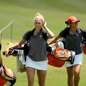 Auburn's Carly Yadloczky walks up No. 9 with her team during Monday's practice round at the Women's NCAA Championship.