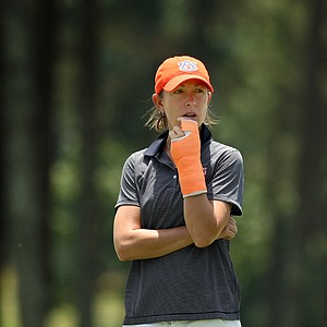 Auburn assistant coach, Danielle Downey, during Monday's practice round at the Women's NCAA Championship.