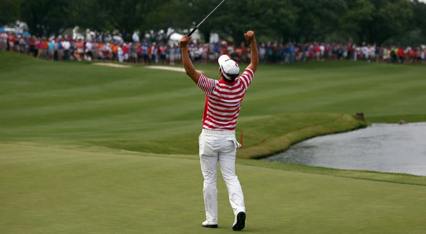 Sang-Moon Bae celebrates after winning th HP Byron Nelson Championship at the TPC Four Seasons Resort on Sunday.