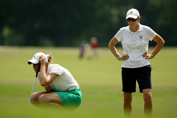San Jose State assistant coach Dana Dormann at No. 9 in Round 1 of the 2013 Women's NCAA Championship.