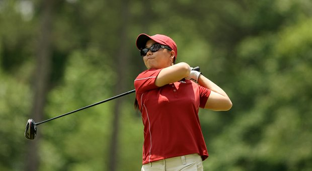 Oklahoma's Chirapat Jao-Javanil, 2012 defending individual champion, hits her tee shot in Round 1 of the 2013 Women's NCAA Championship.
