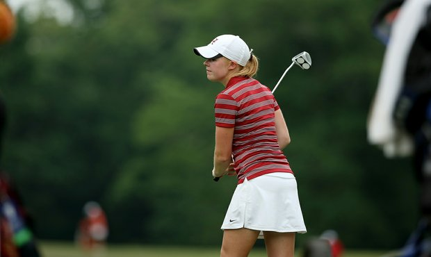 Stephanie Meadow of Alabama reacts to missing her birdie putt at No. 18 in Round 1 of the 2013 Women's NCAA Championship.