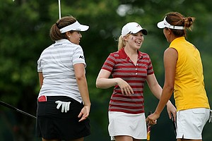 Duke's Alejandra Cangrejo, left, Alabama's Stephanie Meadow, center, and USC's Annie Park after Round.