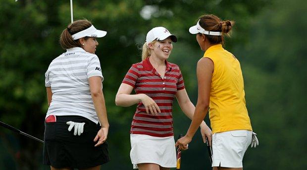 Duke's Alejandra Cangrejo, left, Alabama's Stephanie Meadow, center, and USC's Annie Park after Round.