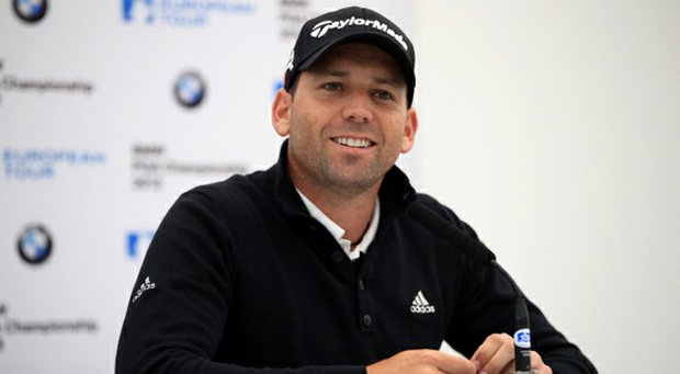 Sergio Garcia talks to the media at a press conference for the BMW PGA Championships at Wentworth in Virginia Water, England.