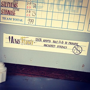 News on the leaderboard about the anchoring ban in Round 1 of the 2013 Women's NCAA Championship.