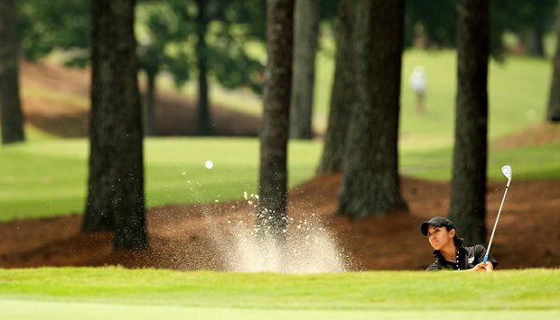 Paula Reto of Purdue hits out of the bunker at No. 18 in Round 2 of the 2013 Women's NCAA Championship.