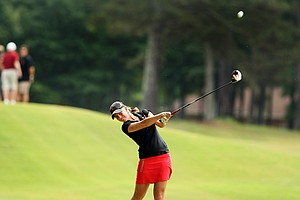 USC's Sophia Popov hits her tee shot at No. 7 in Round 2 of the 2013 Women's NCAA Championship.