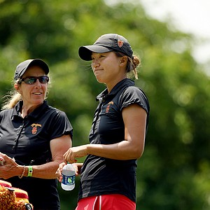 USC head coach Adrea Gaston talks with Annie Park at No. 8 in Round 2 of the 2013 Women's NCAA Championship. Park posted a 67.