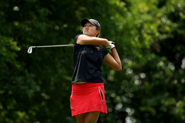 USC's Annie Park at No. 8 in Round 2 of the 2013 Women's NCAA Championship. Park posted a 67.