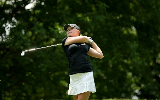 Alabama's Stephanie Meadow hits her tee shot at No. 8 in Round 2 of the 2013 Women's NCAA Championship.