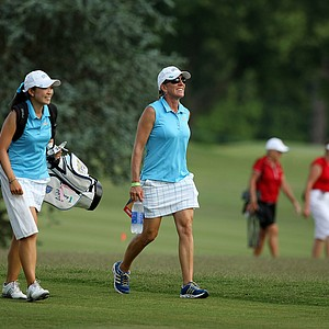 UCLA head coach Carrie Forsyth with Tiffany Lua in Round 2 of the 2013 Women's NCAA Championship.