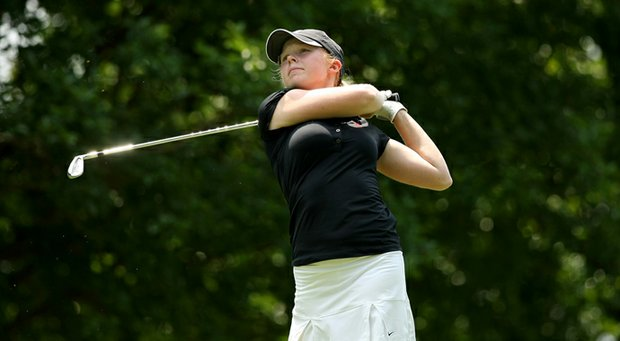 Alabama's Stephanie Meadow hits her tee shot at No. 8 in the second round of the 2013 Women's NCAA Championship.