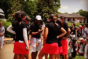 USC players have a pow wow after their round on Wednesday in Round 2 of the 2013 Women's NCAA Championship.