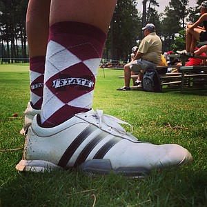 Mary Gallagher with Mississippi State sporting the socks in Round 2 of the 2013 Women's NCAA Championship.
