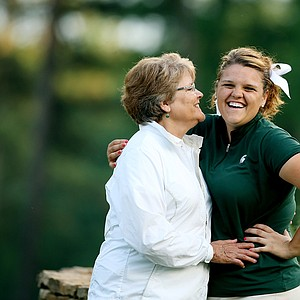 Michigan State's Liz Nagel and her best friend/grandmother Carolee Sanford in Round 2 of the 2013 Women's NCAA Championship.