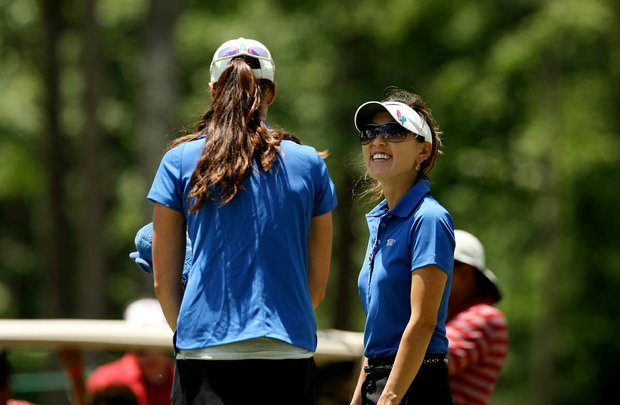 Duke assistant coach, Jeanne Cho, right, talks her player Laetitia Beck who is from Israel in Round 3 of the 2013 Women's NCAA Championship.