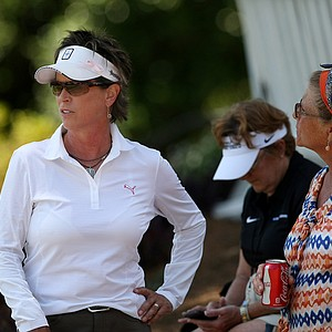 2011 Solheim Cup captain Rosie Jones took in some of the action in Round 3 of the 2013 Women's NCAA Championship.