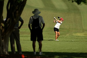 Oklahoma's Taylor Schmidt hits her tee shot at No. 2 in Round 3 of the 2013 Women's NCAA Championship.