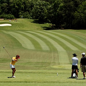 USC's Annie Park hits her tee shot at No. 2 in the final round of the 2013 Women's NCAA Championship.