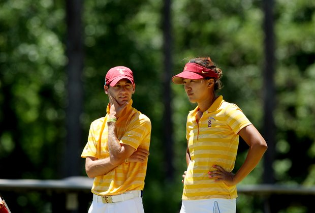 USC's Annie Park with assistant Justin Silverstein in the final round of the 2013 Women's NCAA Championship.