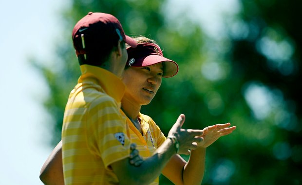 USC Annie Park with assistant Justin Silverstein in the final round of the 2013 Women's NCAA Championship.