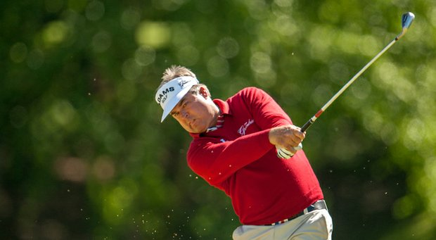 Kenny Perry hits his tee shot on the third hole during the second round of the 74th Senior PGA Championship at Bellerive Country Club on May 24, 2013 in St. Louis.