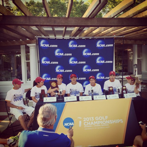 USC talks with the media in the final round of the 2013 Women's NCAA Championship.