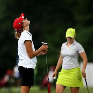 Wisconsin's Aaren Ziegler reacts to missing her putt at No. 9 in Round 1.