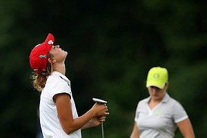 Wisconsin's Aaren Ziegler reacts to missing her putt at No. 9 in Round 1.