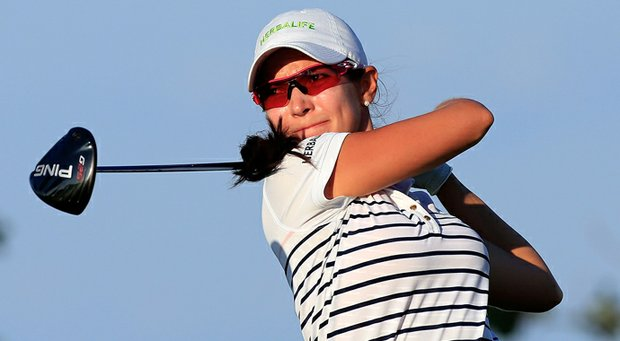 Paola Moreno plays a shot on the 14th hole during the second round of the Pure Silk-Bahamas LPGA Classic.