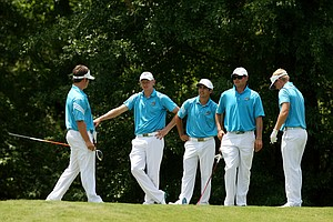 Coastal Carolina during Monday's practice at the 2013 NCAA Championship at Capital City Club Crabapple Course.